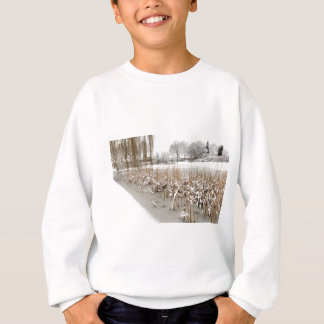 Snow and ice on water of pond sweatshirt