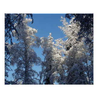 Snow and Ice Winter Treescape Poster