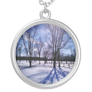 snow and trees round pendant necklace