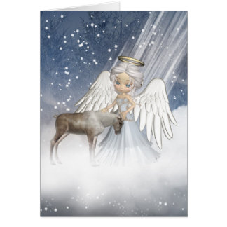 Snow Angel Blowing Snow Over The World, With Reind Card