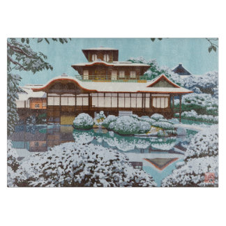 Snow At Hiunkaku Temple japanese winter scenery Cutting Board