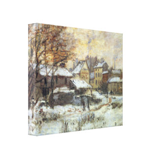 Snow at sunset, Argenteuil in the snow by Claude M Gallery Wrap Canvas