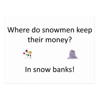 Snow Bank joke Postcard