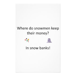 Snow Bank joke Stationery