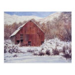 Snow Barn in the Mountains- postcard