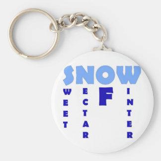 Snow Basic Round Button Key Ring