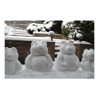 Snow bear family personalized stationery