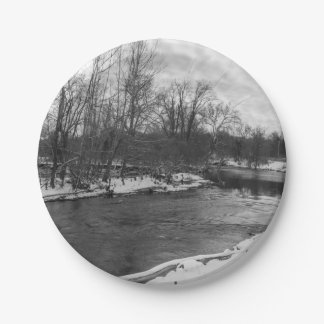 Snow Beauty James River Grayscale 7 Inch Paper Plate