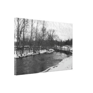 Snow Beauty James River Grayscale Canvas Print