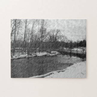 Snow Beauty James River Grayscale Jigsaw Puzzle