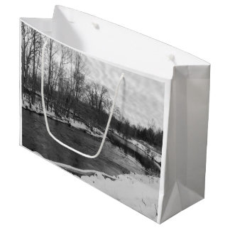Snow Beauty James River Grayscale Large Gift Bag
