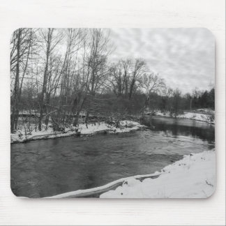 Snow Beauty James River Grayscale Mouse Pad