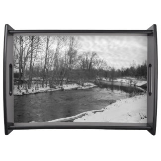 Snow Beauty James River Grayscale Serving Tray