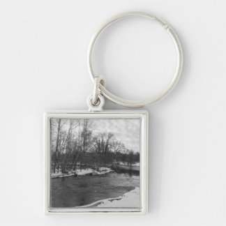 Snow Beauty James River Grayscale Silver-Colored Square Key Ring