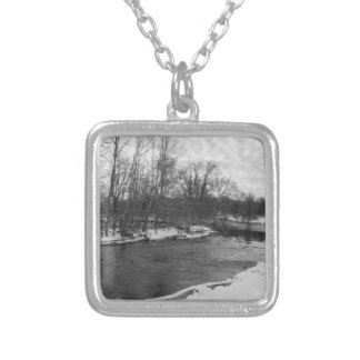 Snow Beauty James River Grayscale Silver Plated Necklace