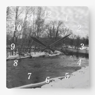 Snow Beauty James River Grayscale Square Wall Clock