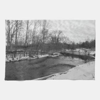 Snow Beauty James River Grayscale Tea Towel
