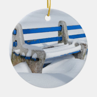 Snow Bench Ceramic Ornament