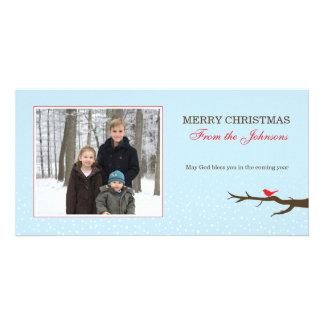 Snow Bird Christmas Photocard Customized Photo Card