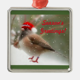 Snow Bird Season's Greetings Christmas Ornament