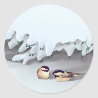 SNOW BIRDS by SHARON SHARPE Classic Round Sticker
