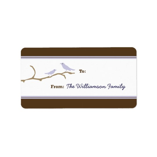 Snow Birds Holiday Gift Tag (brown/lilac)