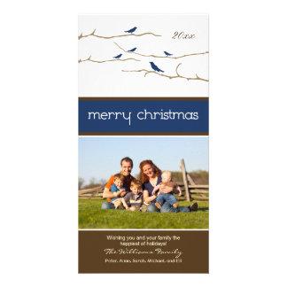 Snow Birds Merry Christmas Photocard (navy) Customized Photo Card