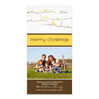Snow Birds Merry Christmas Photocard (yellow) Custom Photo Card