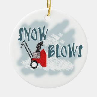 Snow Blows Ceramic Ornament