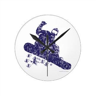 Snow-Boarder Round Clock