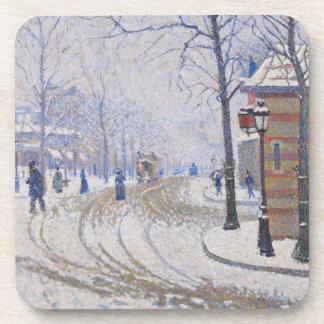 Snow, Boulevard de Clichy, Paris, 1886 Coasters