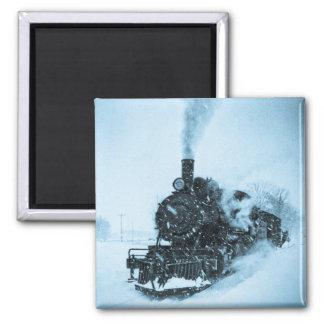 Snow Bound Train Square Magnet
