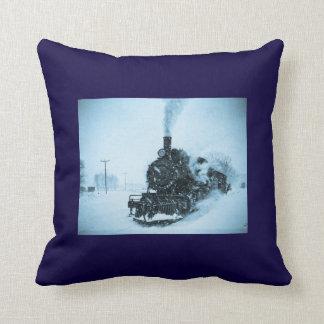 Snow Bound Train Vintage Winter Railroad Throw Pillow