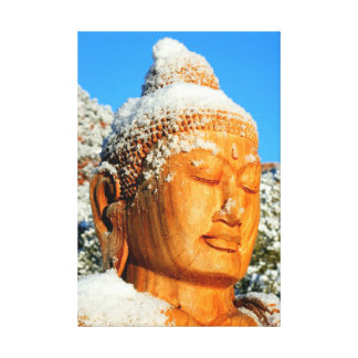 Snow Buddha wrapped canvas Stretched Canvas Prints
