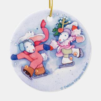 Snow Bunnies Round Ceramic Decoration