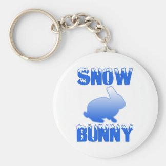 Snow Bunny Basic Round Button Key Ring