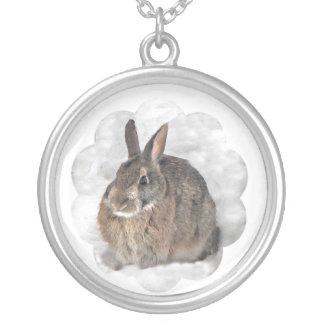 Snow Bunny Round Pendant Necklace