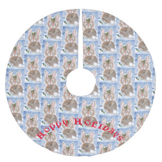 Snow Bunny Rabbit Christmas Tree Skirt Blue White