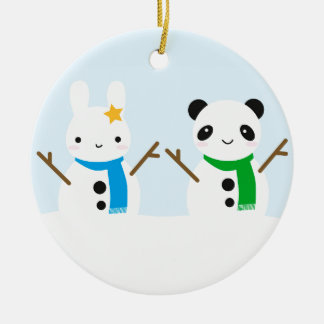 Snow Bunny & Snow Panda Round Ceramic Decoration