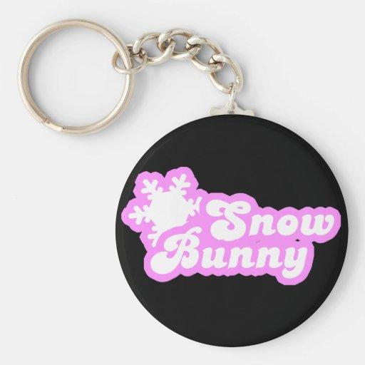 Snow Bunny Winter Pink Key Chain