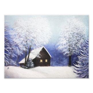 snow cabin winter landscape in pastel art photo