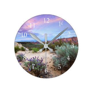 Snow Canyon Sunrise Wildflowers Landscape Photo Round Clock