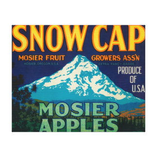 Snow Cap Apple Crate LabelMosier, OR Stretched Canvas Print