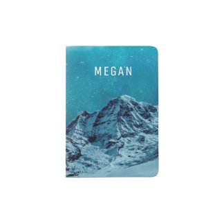 Snow-capped Mountains At Night | Customized Name Passport Holder
