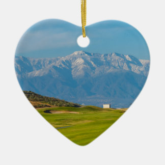 snow capped mountains ceramic heart decoration