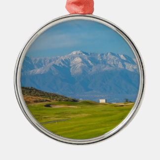 snow capped mountains Silver-Colored round decoration