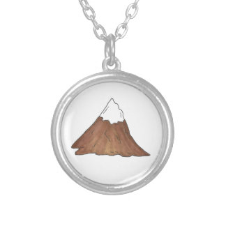 Snow-Capped Peak Mountain Range Climbing Outdoor Silver Plated Necklace