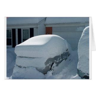 """""""Snow car"""" on top of car. Blizzard 2010 Card"""