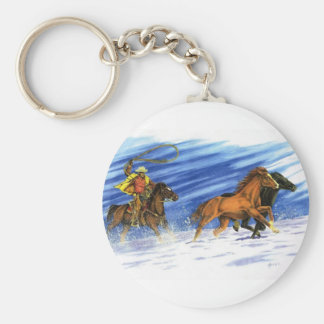 Snow Chase Basic Round Button Key Ring