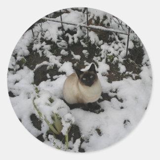 Snow Chow Chow Round Sticker